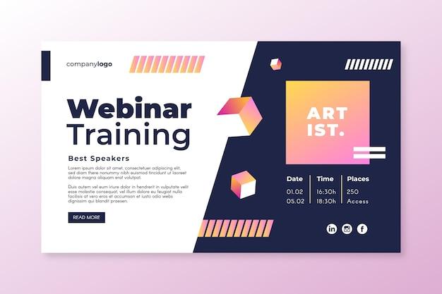 Plantilla de invitación de banner de seminario web con formas