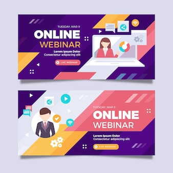 Plantilla de invitación de banner de seminario web con ilustraciones