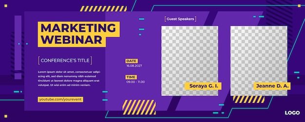 Plantilla de invitación de banner de seminario web con marcadores de posición de fotos