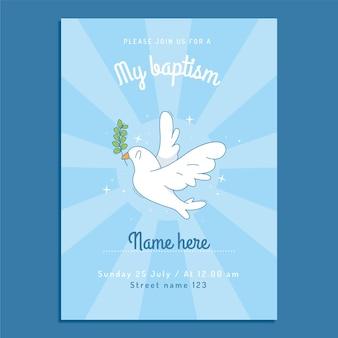 Plantilla de invitación de bautismo de dibujos animados