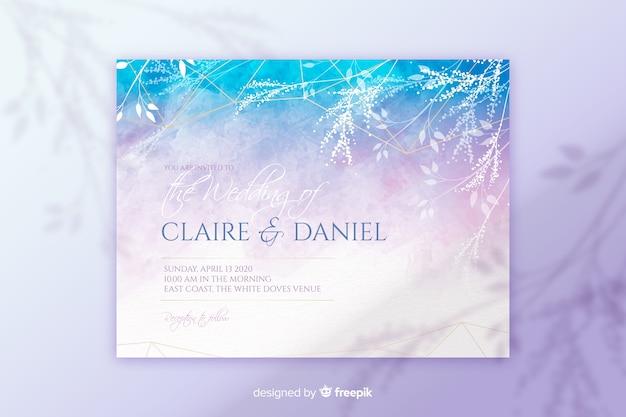 Plantilla de invitación de boda abstracta pintada a mano