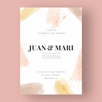 Plantilla de invitación de boda acuarela abstracta