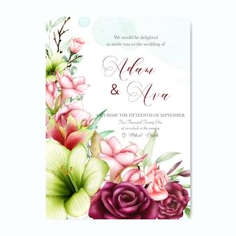 Plantilla de invitación de boda con acuarela amarilis y flores color de rosa