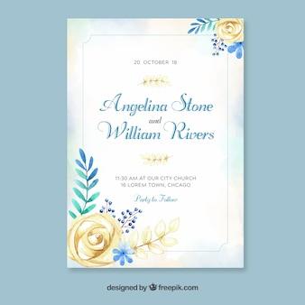 Plantilla de invitación de boda en acuarela con estilo floral vector gratuito