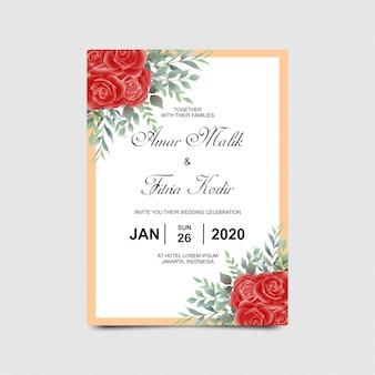 Plantilla de invitación de boda con acuarela estilo rosa roja