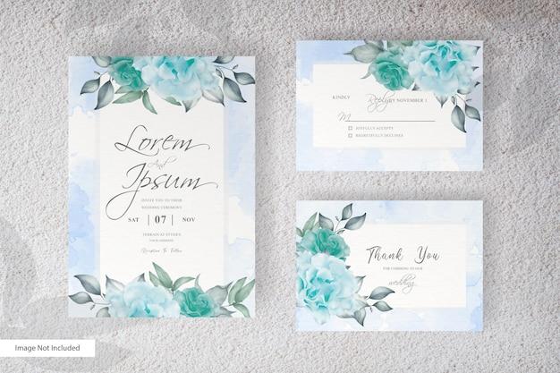 Plantilla de invitación de boda en acuarela con hermosas flores y hojas