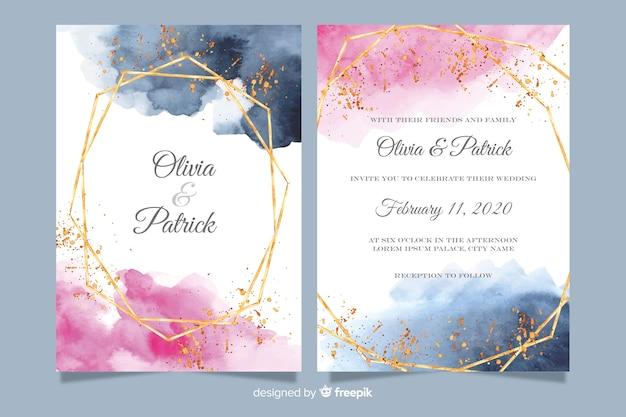 Plantilla de invitación de boda en acuarela con marco dorado
