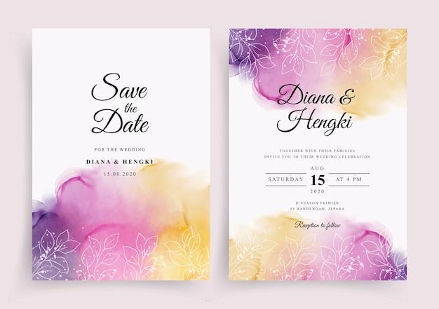 Plantilla de invitación de boda con acuarela pintada a mano