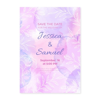 Plantilla de invitación de boda en acuarela pintada a mano