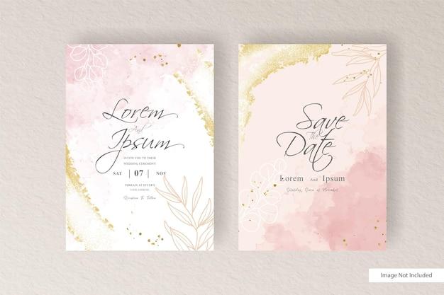 Plantilla de invitación de boda en acuarela con salpicaduras de acuarela abstracta y acuarela líquida dibujada a mano