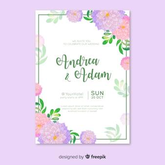 Plantilla con invitación de boda acuarela
