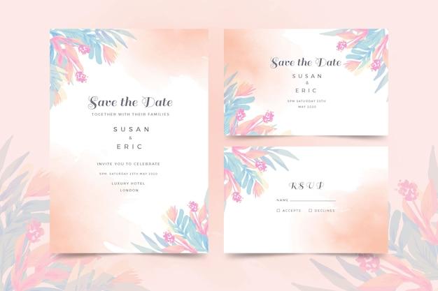 Plantilla de invitación de boda acuarela