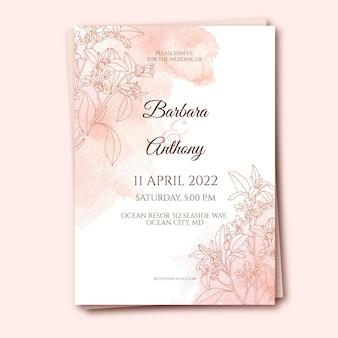 Plantilla de invitación de boda en acuarela
