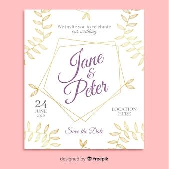 Plantilla de invitación de boda con adornos elegantes