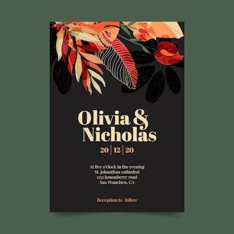 Plantilla de invitación de boda con adornos florales