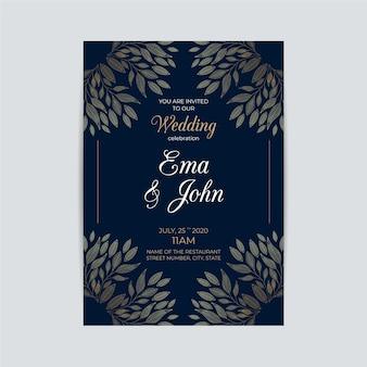 Plantilla de invitación de boda con adornos lujosos
