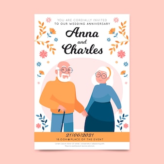 Plantilla de invitación de boda con ancianos ilustrados