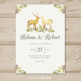 Plantilla de invitación de boda con animales en acuarela