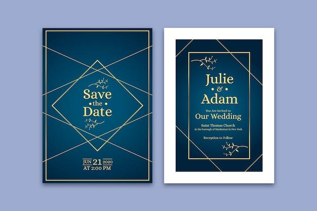 Plantilla de invitación de boda azul con los nombres de la pareja