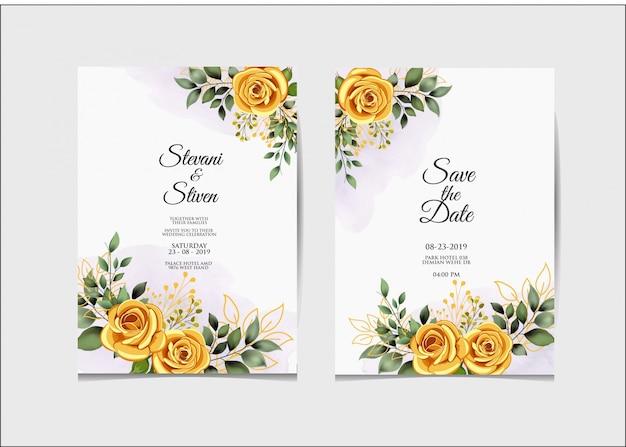 Plantilla de invitación de boda belleza y elegante