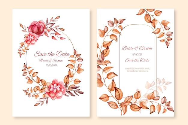 Plantilla de invitación de boda boho acuarela pintada a mano