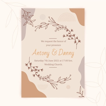 Plantilla de invitación de boda boho dibujada a mano
