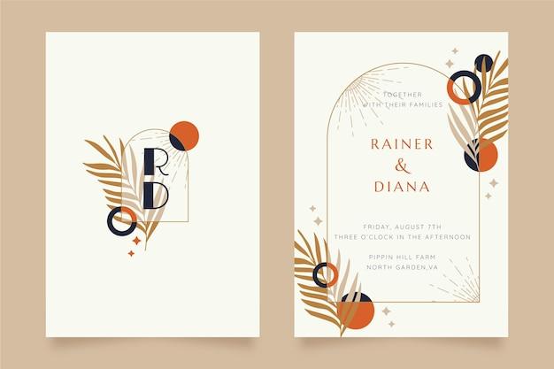 Plantilla de invitación de boda boho plana