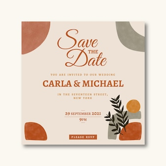 Plantilla de invitación de boda boho