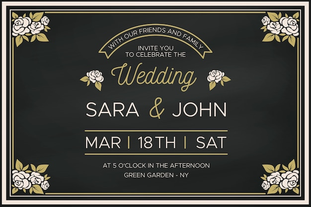 Plantilla de invitación de boda con borde floral retro