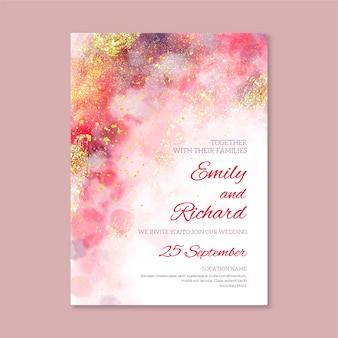 Plantilla de invitación de boda colorida elegante