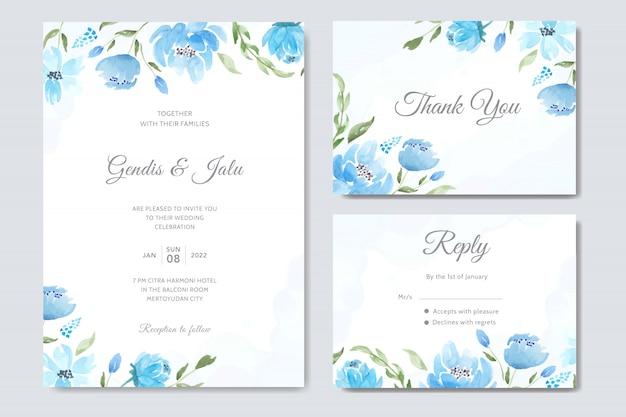 Plantilla de invitación de boda conjunto acuarela azul floral