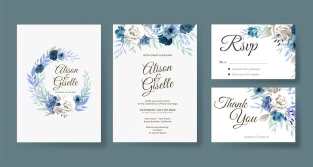 Plantilla de invitación de boda con conjunto de flor rosa azul