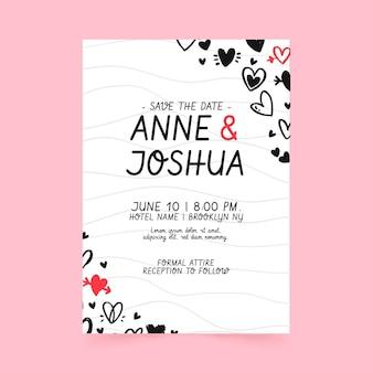 Plantilla de invitación de boda con corazones garabatos