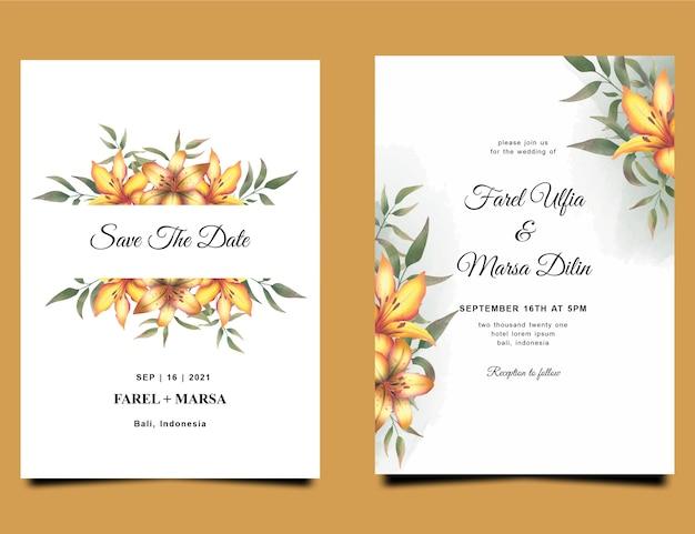 Plantilla de invitación de boda con decoración de ramo de flores de lirio amarillo acuarela
