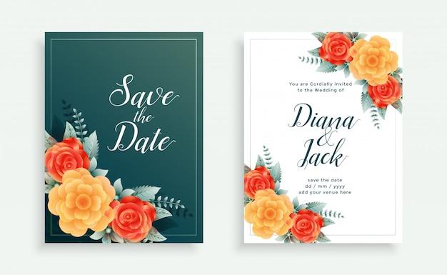 Plantilla de invitación de boda decorativa estilo flor preciosa