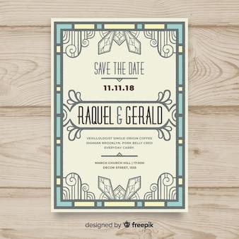 Plantilla de invitación de boda con decorativo concepto art deco