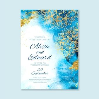 Plantilla de invitación de boda detallada elegante