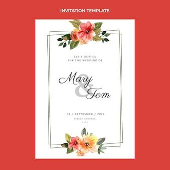 Plantilla de invitación de boda dibujada a mano en acuarela