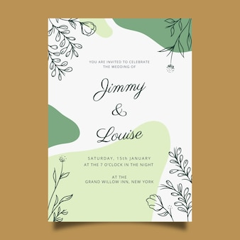 Plantilla de invitación de boda dibujada a mano en estilo floral