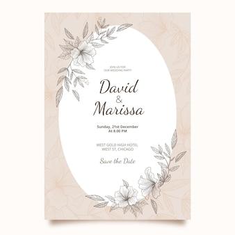 Plantilla de invitación de boda dibujada a mano