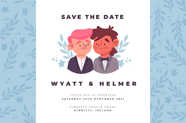 Plantilla de invitación de boda con dibujo