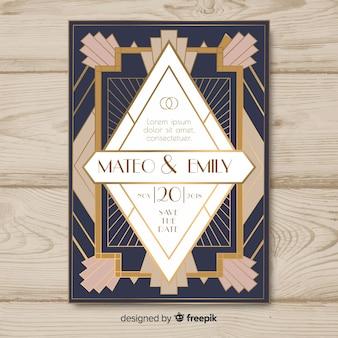 Plantilla de invitación de boda en diseño art deco