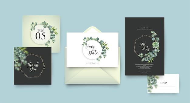 Plantilla de invitación de boda con diseño de hojas