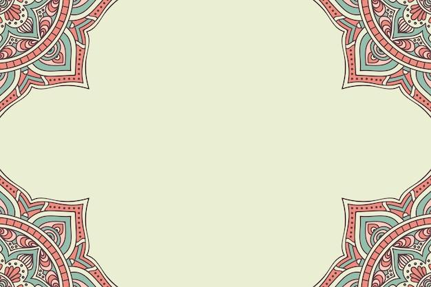 Plantilla de invitación de boda con diseño de mandala