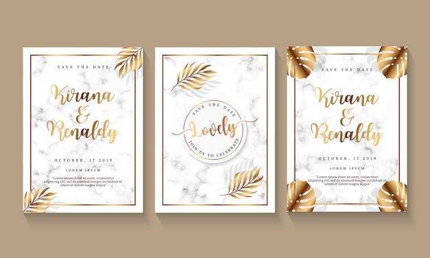 Plantilla de invitación de boda con diseño de mármol y elemento botánico.