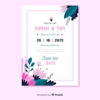 Plantilla de invitación de boda de diseño plano con marco rosa
