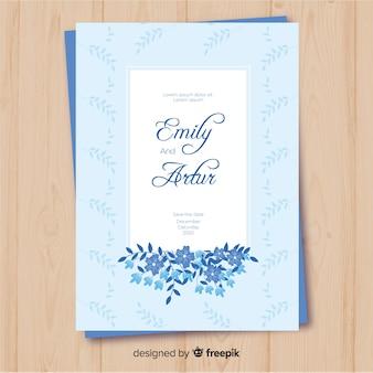 Plantilla de invitación de boda en diseño plano