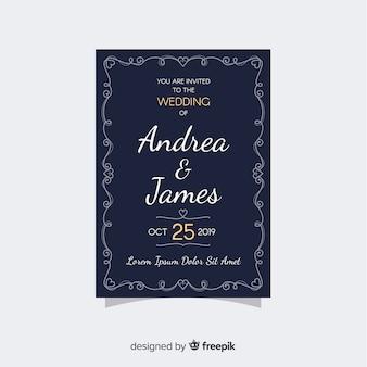 Plantilla de invitación de boda en diseño retro
