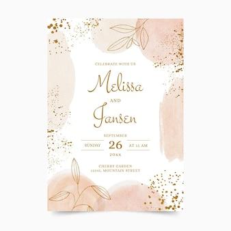 Plantilla de invitación de boda dorada en acuarela pintada a mano