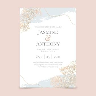 Plantilla de invitación de boda dorada dibujada a mano grabado